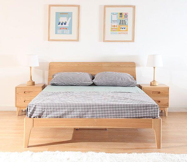 Beaumont Edition Wood Bed Frame Solid Oak Wood Wood Bed Frame