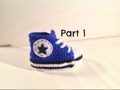 Baskets Converse au crochet (Taille naissance à 12 mois) Partie 12 TUTO pour débutants