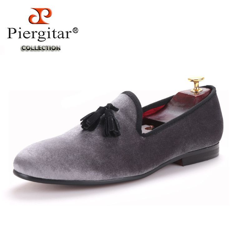 95f5845a3c0 Piergitar 2016 New style Handmade Loafers Gray velvet Men shoes with Black  suede tassel Fashion Party dress shoes men's flats