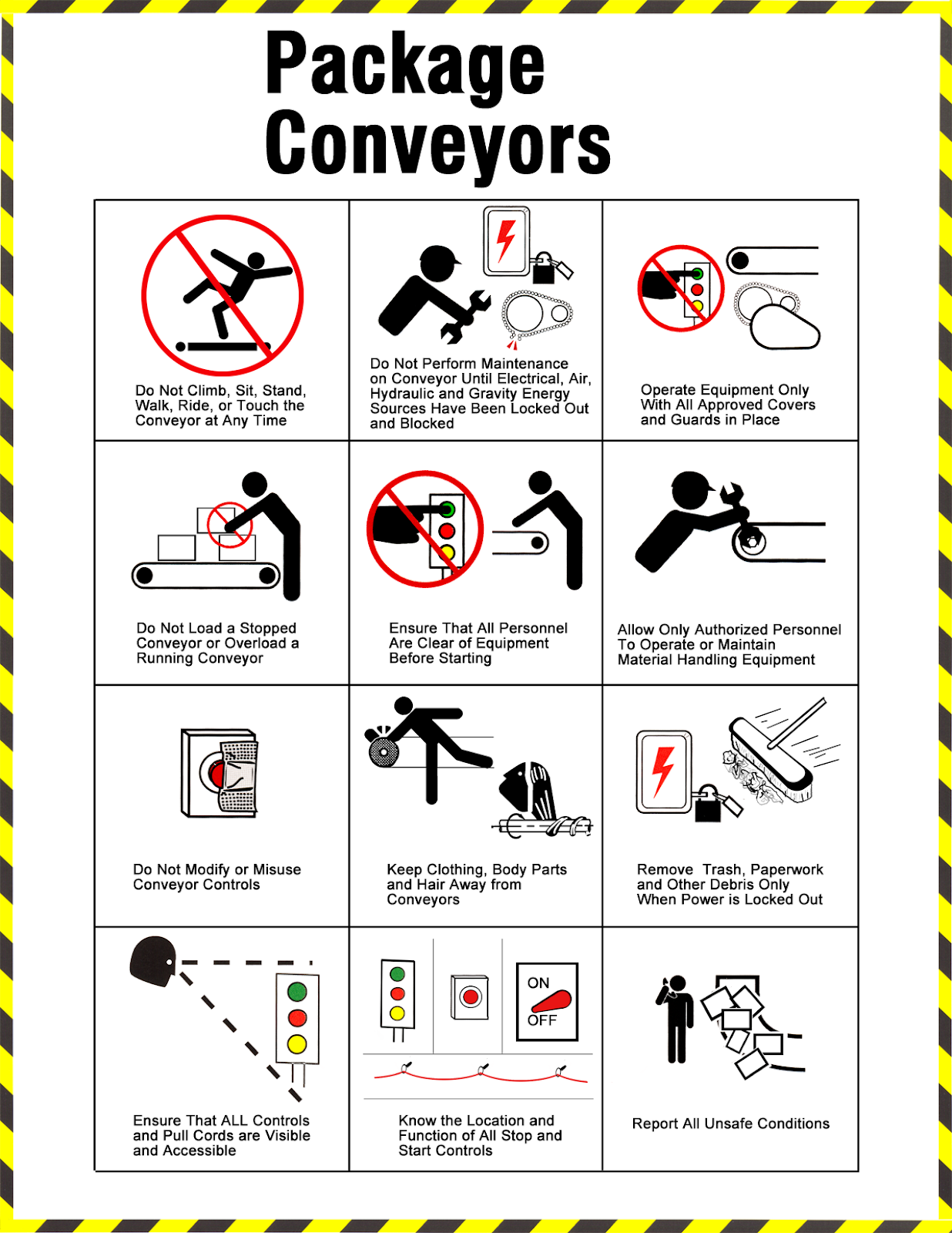 Working Near Package Conveyors Safety Tips Safety Posters Safety Slogans Occupational Health And Safety