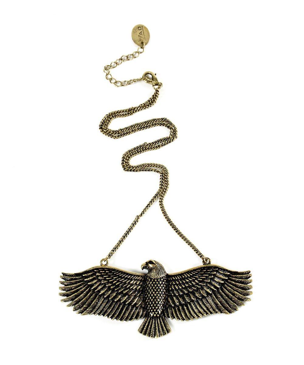 Soaring Eagle Pendant Necklace - Antique Gold