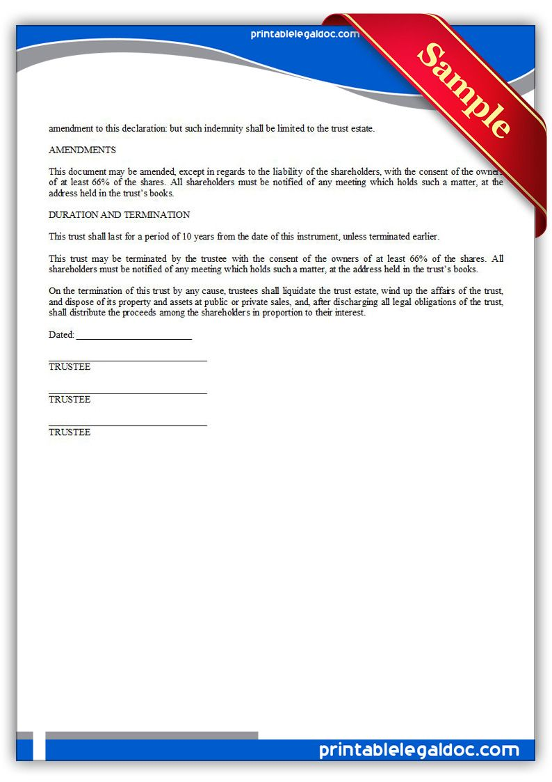 Free Printable Business Trust  Sample Printable Legal Forms