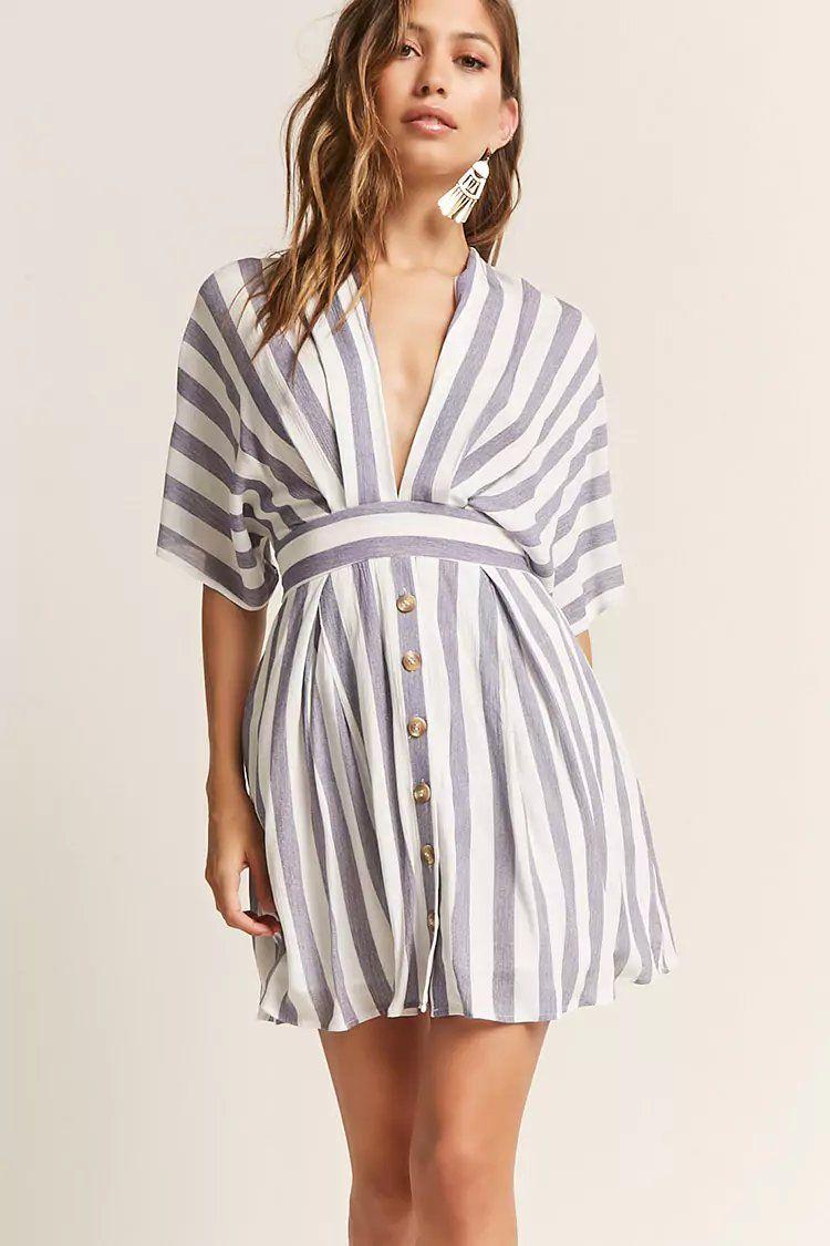 Plunging Stripe Dress