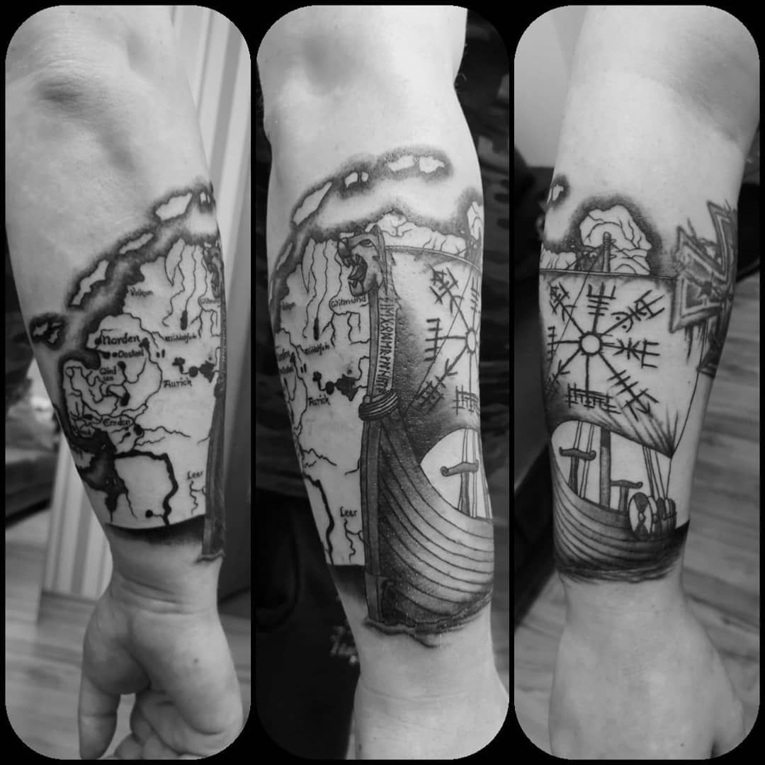 Endlich wieder ein neues Tattoo.  Vielen Dank an @outlined.ideas Sieht wie immer geil aus.  #tattoo #tattooart #tattoolife #tattoolovers #vikingtattoo #wikingertattoo #ostfriesland #schiff #vegvisir #vegvisirtattoo #armtattoo #tätowiererdesvertrauens #karte #outlinedideas