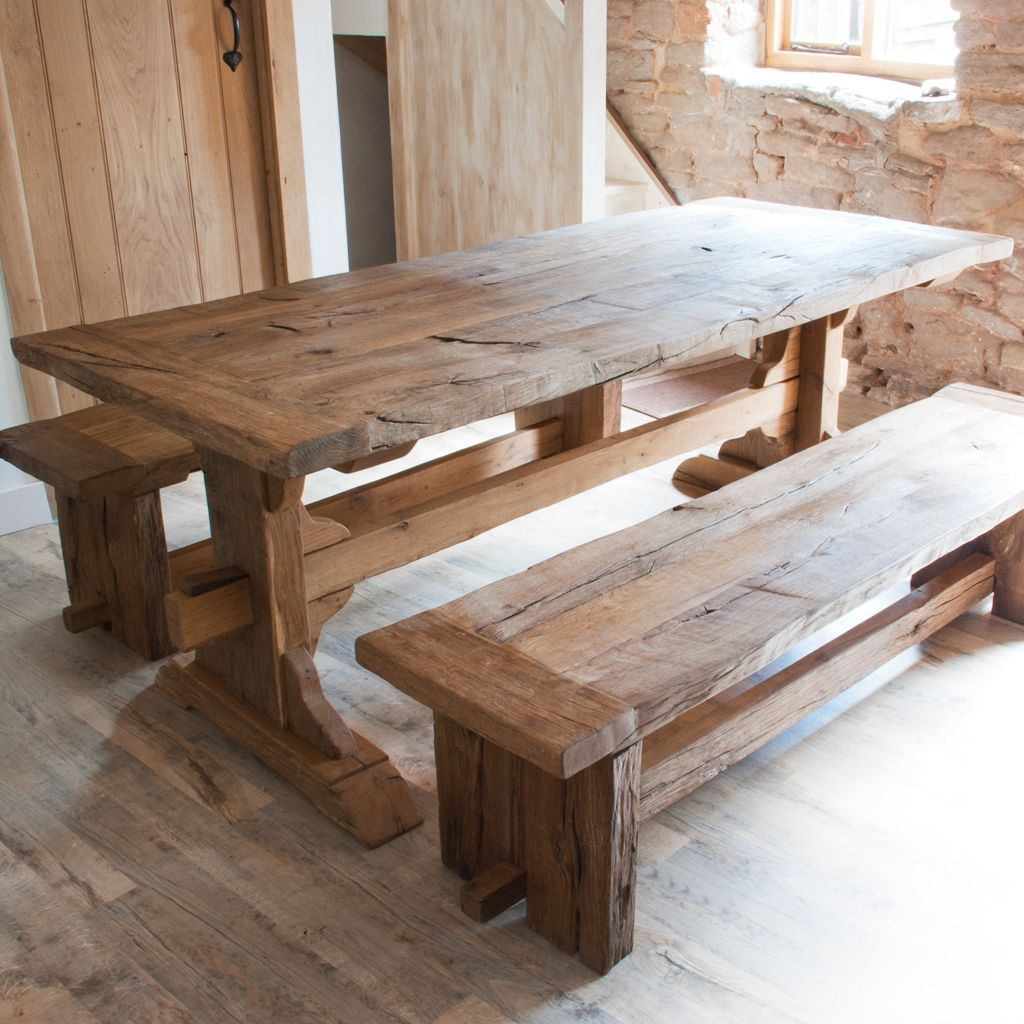 Wooden Bench For Dining Table: Large Reclaimed Oak Monastery Dining Table