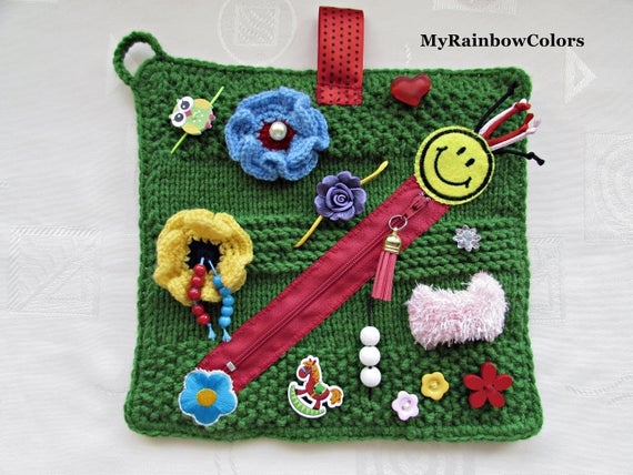 Knitted Twiddle Blanket For Disabled Child Google Search In 2020 Sensory Blanket Activity Mat Fidget Blankets