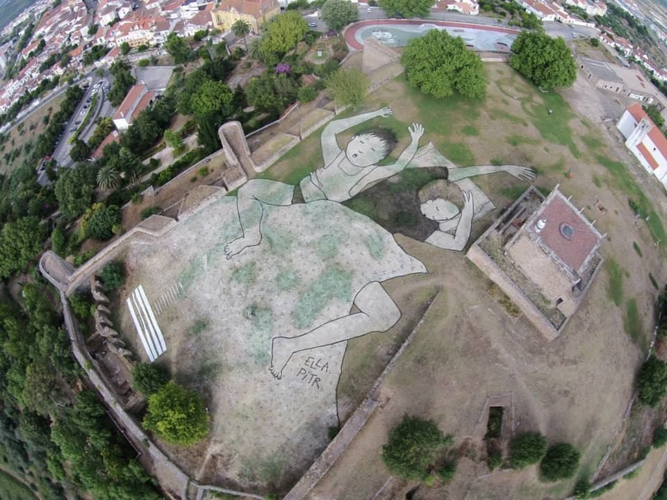 The biggest street art piece in Portugal?  Ella & Pitr - 180 Creative Camp in Abrantes, Portugal.