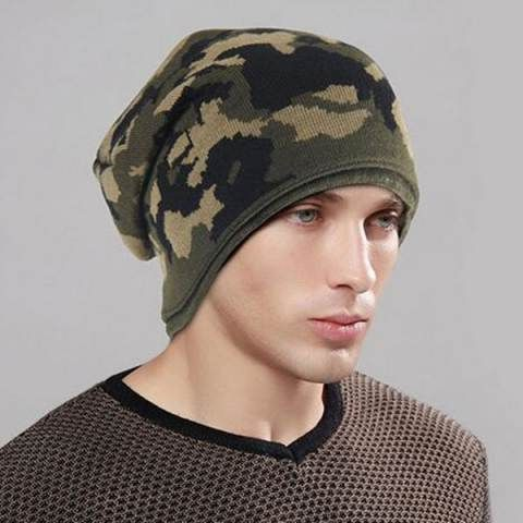 f18cc4c58 Green camo beanie hat for men warm winter outdoor knit hats | Fall ...