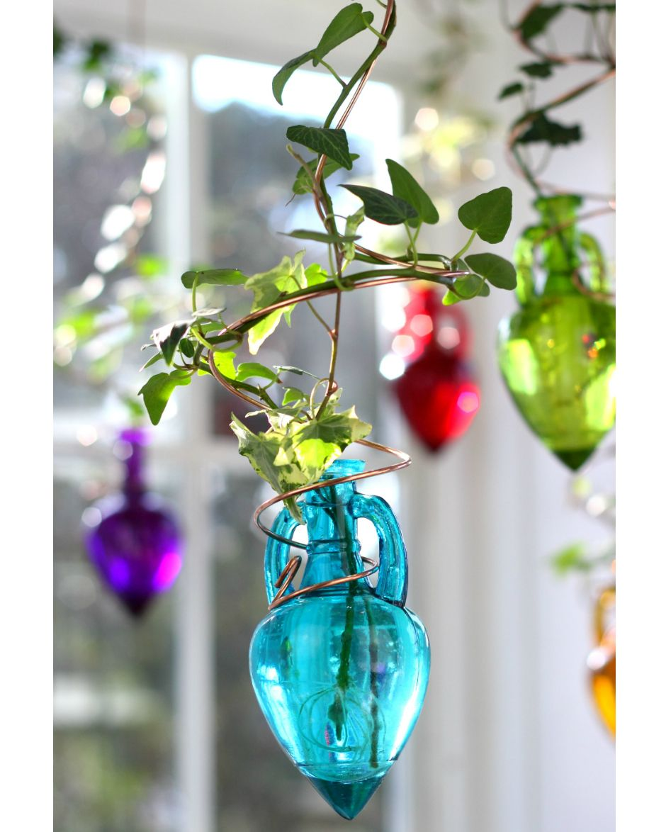 Spiral Hanging Water Garden Teal Blue Live Plants Included