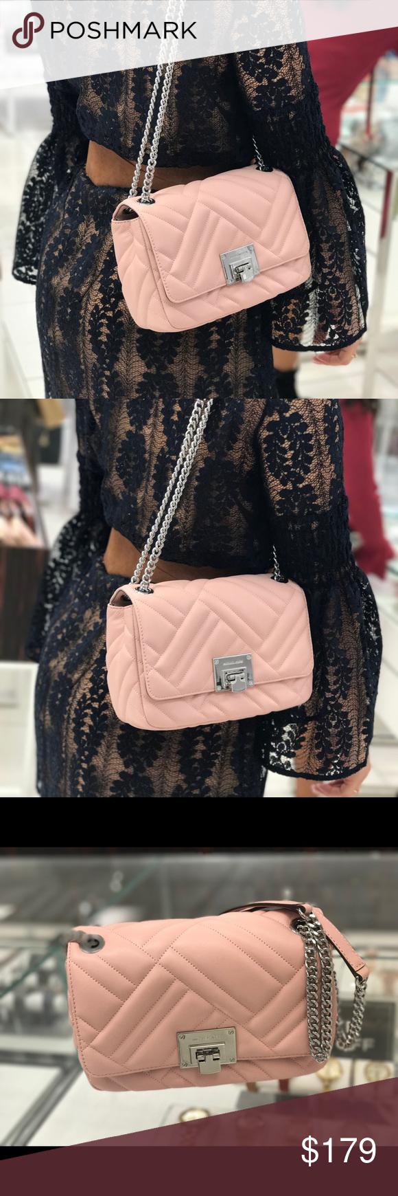 19a12156a3075c Michael Kors Vivianne MD Shoulder Flap Lamb Bag Michael Kors Vivianne  Medium Shoulder Flap Lamb Leather Bag Pastel Pink lamb leather •  SIKVER-tone hardware ...