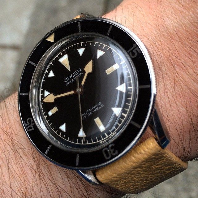 Gruen diver actually far better integrated design and unity of hands plots than any rolex sub for Watches better than rolex