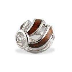 Sterling Silver Swirl Bead with Koa Wood* Inlay - Puka Bead Collection - Collections