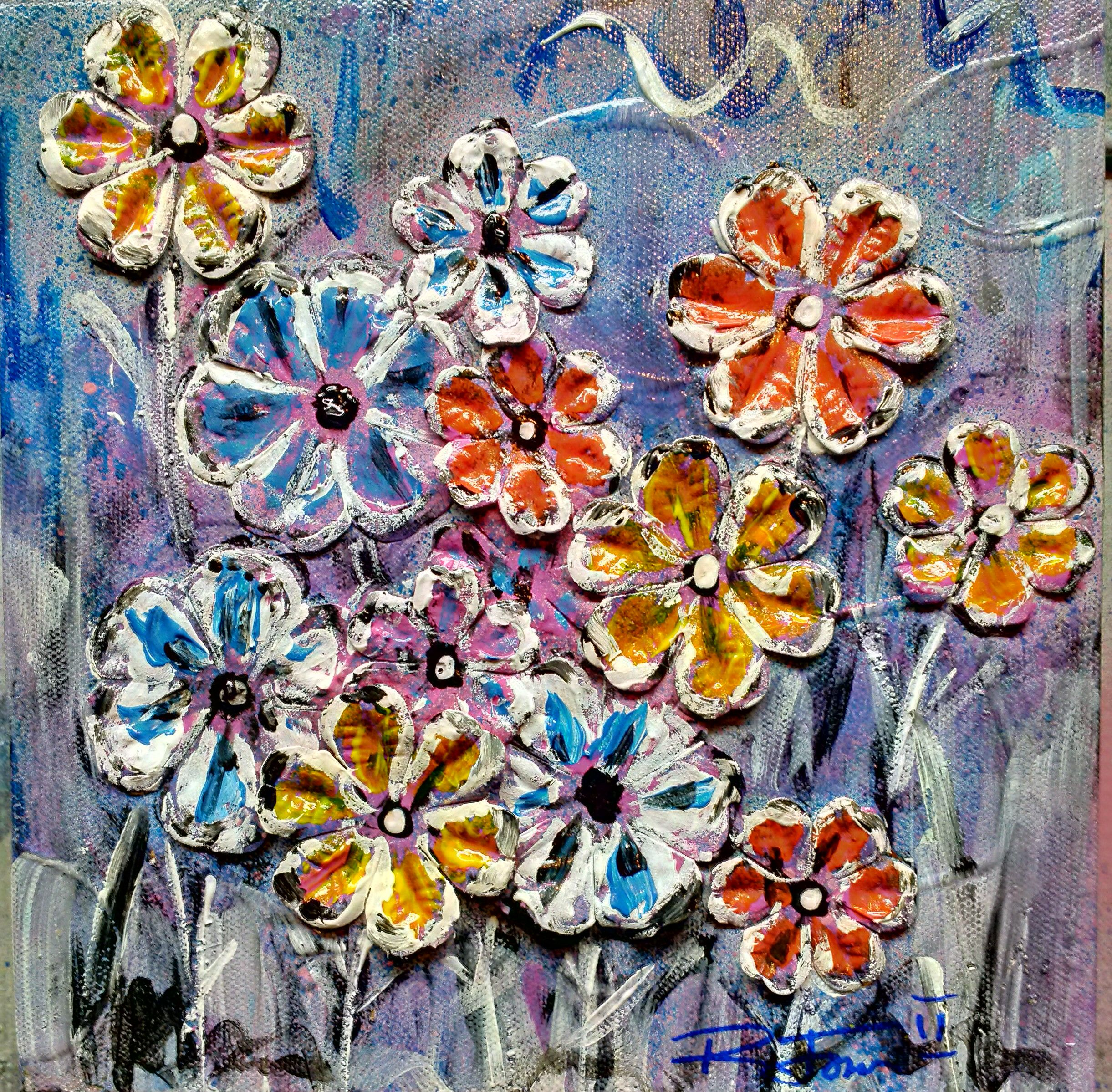 Mixed media with acrylic paint on a small canvass Flower