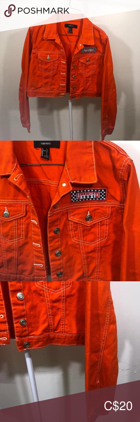 Forever 21 Orange Cropped Denim Jacket Cropped Denim Jacket Cropped Denim Denim Fashion [ 1740 x 580 Pixel ]