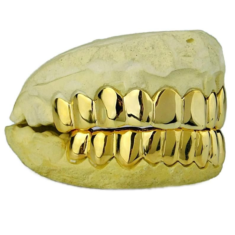 Solid 10k Gold Or 14k Gold Grillz Custom Fitted Plain Teeth Image 1 Grillz Gold Grillz Custom Grillz