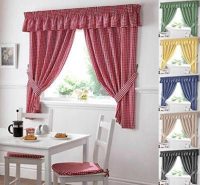 Details About Gingham Check Kitchen Curtain Free Tiebacks Many Colours Sizes Goruntuler Ile Dosemelik