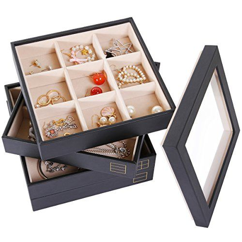 Superbe Valdler 4 Stackable Jewelry Trays With Lid Jewelry Storage Display Case U0026  Jewelry Organizer Black.
