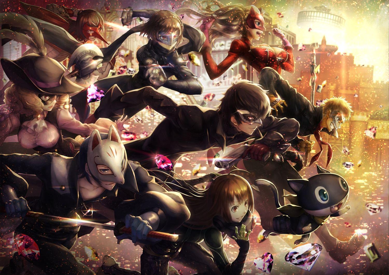 PERSONA5 Kurusu Akira All Group Poster Wall Scroll New