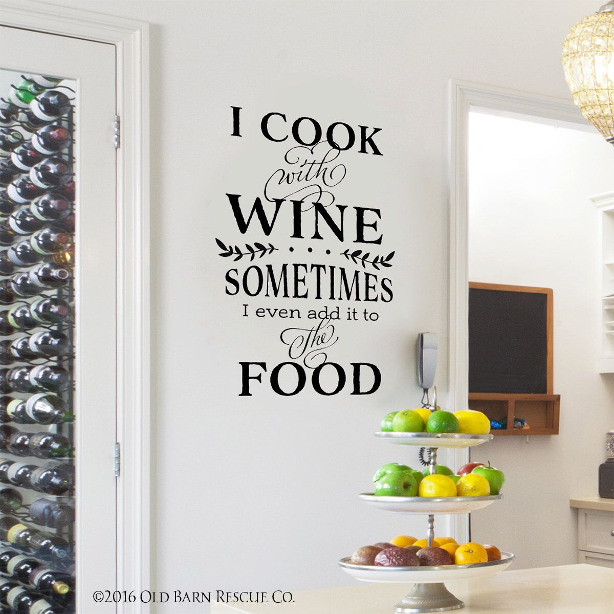 Kitchen Quote | Kitchen Wall Decal | I cook with wine | Wall Quote by  OldBarnRescueCompany
