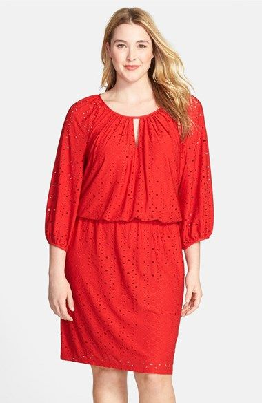 London Times Keyhole Detail Eyelet Blouson Dress (Plus Size) available at #Nordstrom