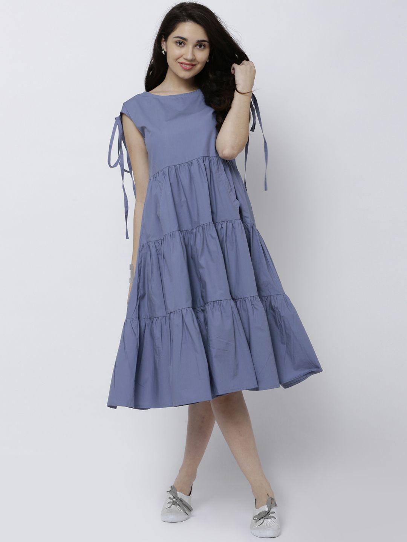 4e85b89f4 Buy Tokyo Talkies  women  Blue  Solid A Line  Dress