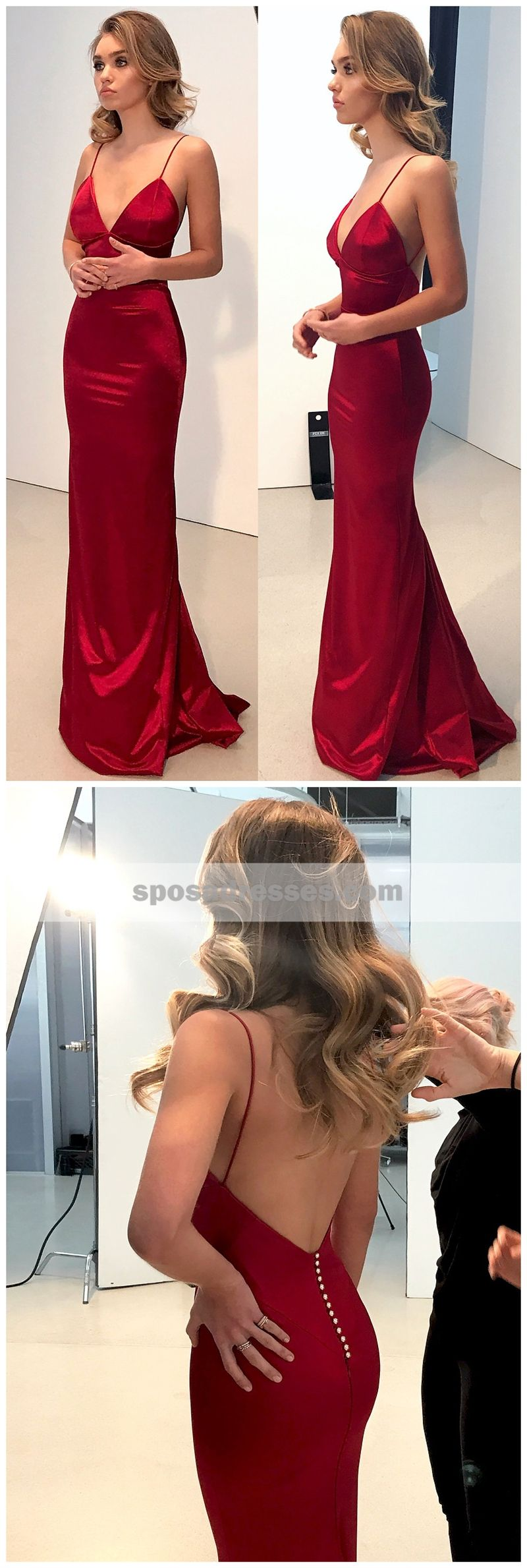 Cheap simple backless dark red mermaid long evening party prom
