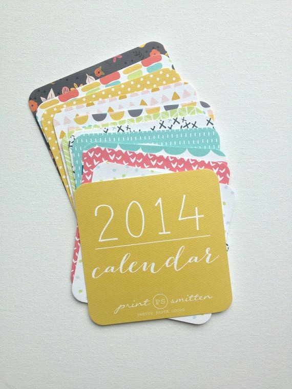 2014 Calendar Wall or Desktop Calendar 12 Month by PrintSmitten ...