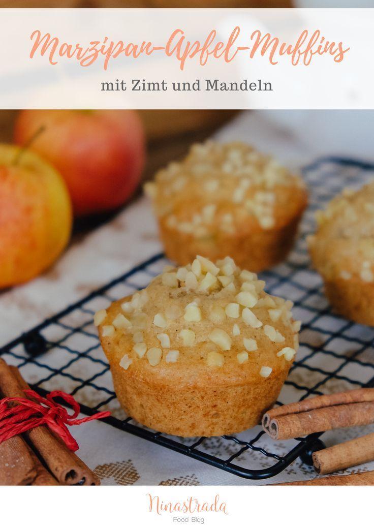 Saftige Apfel-Muffins mit Marzipan und gehackten Nüssen | ninastrada