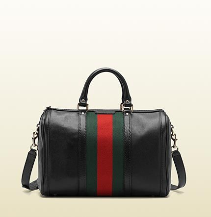 941081c42 Gucci vintage web boston bag ~ black leather with green/red/green signature  web, light gold hardware, double handles with 3.5