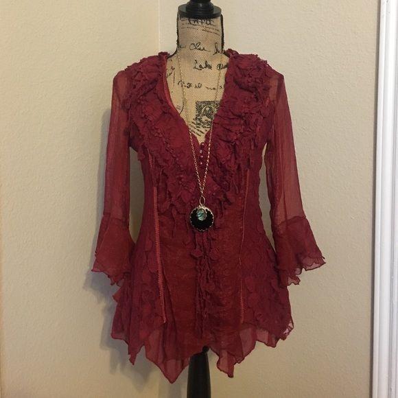 Bohemian top Crimson bohemian top w lace detail, 52% silk, 48% polyester Tops Blouses