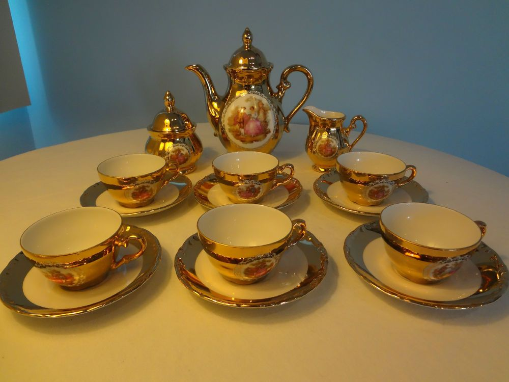 Rare Antique 22 Kt Gold Over Porcelain Germany Bavaria