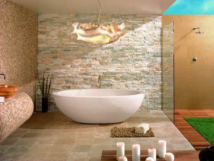 salle de bain pierre naturelle avec revtement de sol en pierre de travertin baignoire lot - Salle De Bain Avec Baignoire Ilot