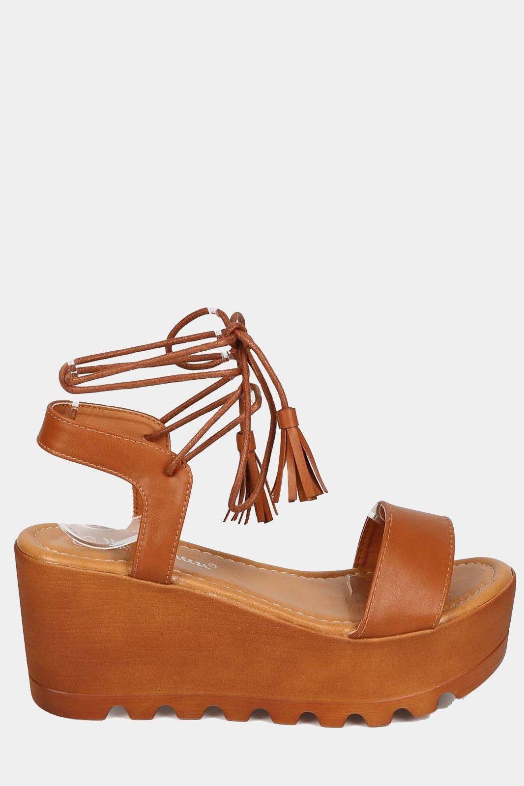 0bb41c59a18 Wrap Wooden Platform Wedge Sandals - Tan More