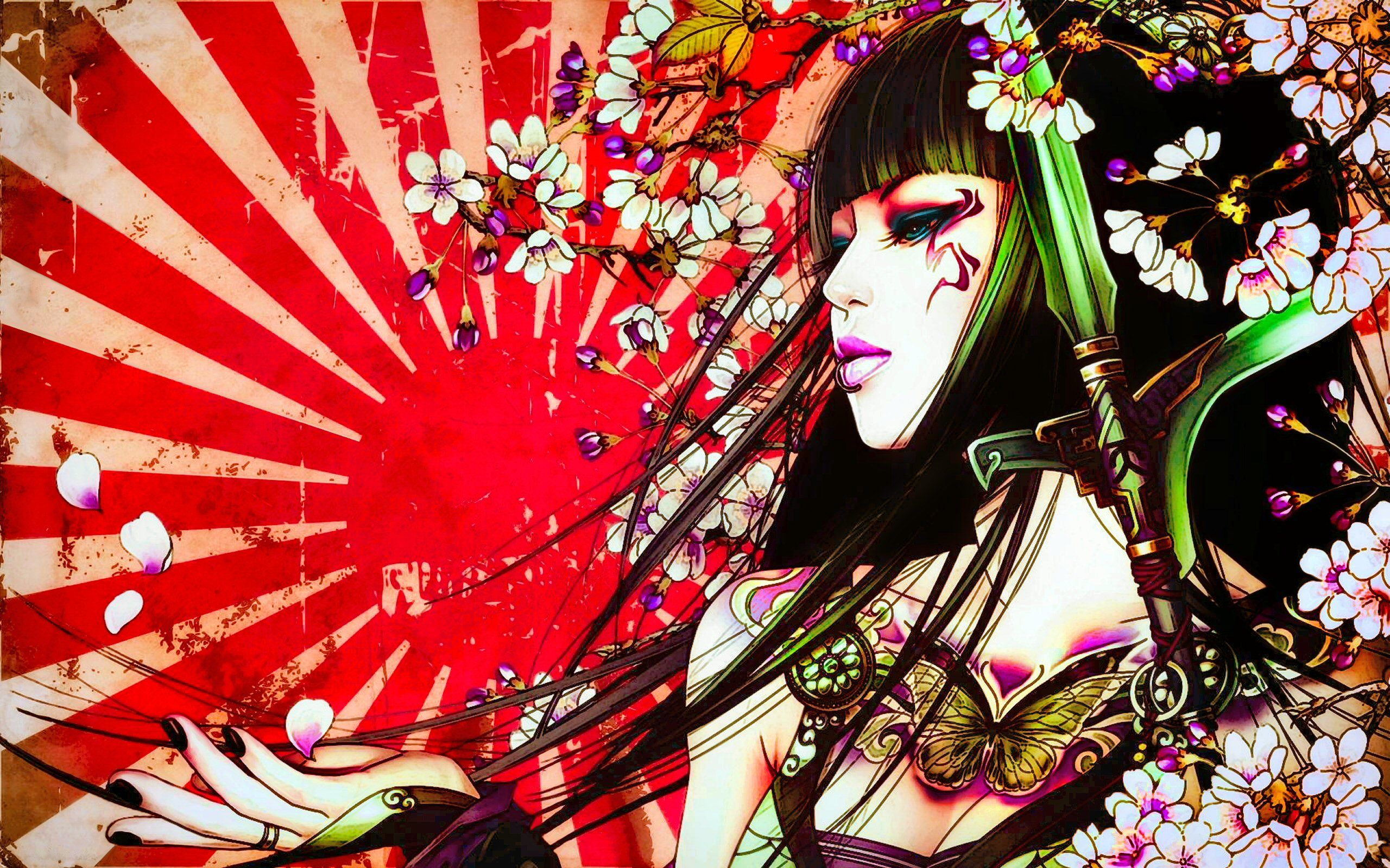 Fantasy Geisha Tattoo Petal Japan Sun Fantasy Asian Artistic