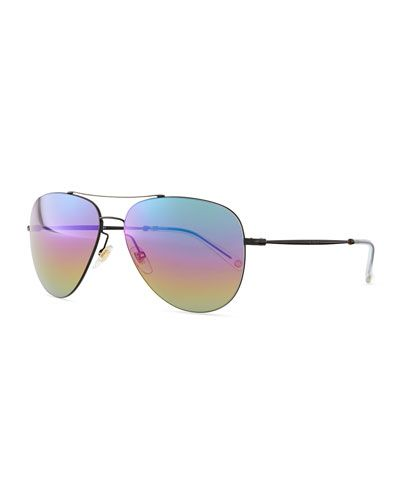 f30d3eef3ce Gucci flash lens aviator sunglasses - black with rainbow lenses