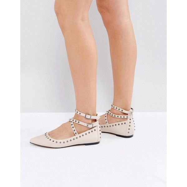 ASOS LIVEWIRE Studded Ballets (115.170 COP) ❤ liked on Polyvore featuring shoes, flats, beige, beige ballet flats, ballerina flats, prom flats, studded ballet flats and ankle strap ballet flats
