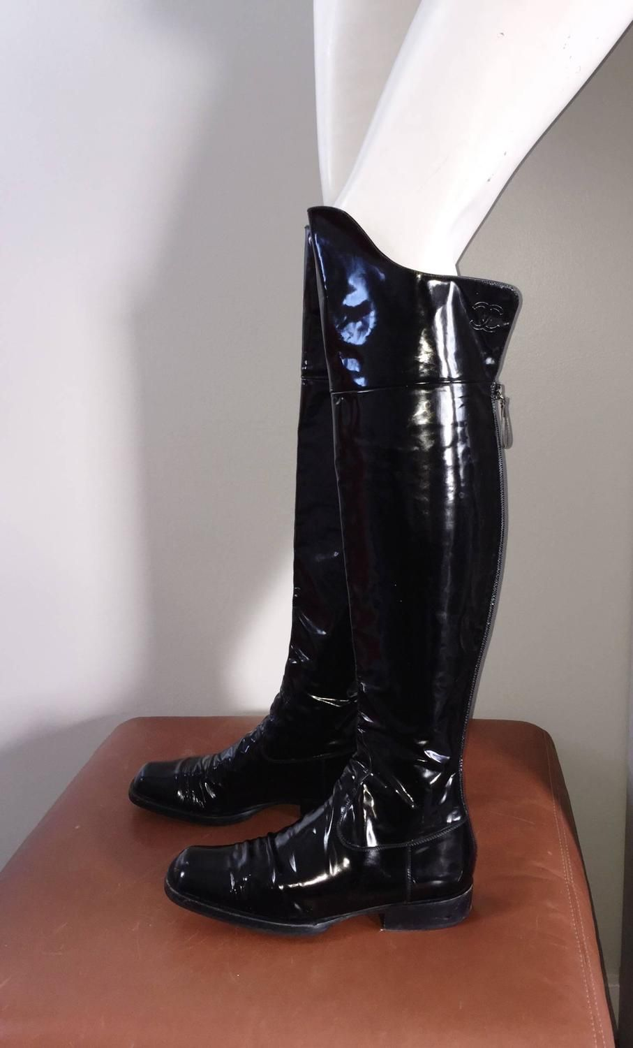80c9a6339ee Coveted Chanel Black Patent Leather Over The Knee Riding Flat Boots Size 38  8 image 6