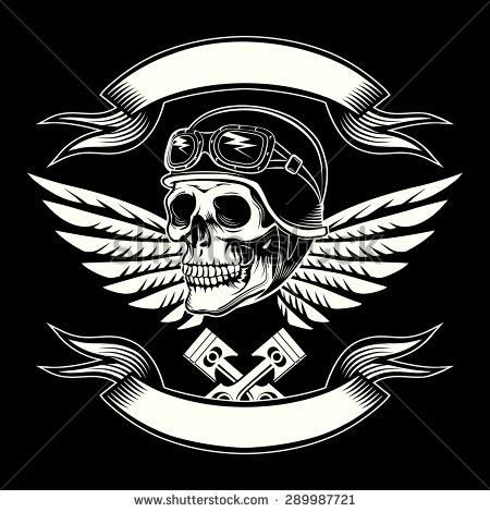 b339e5cb Motor skull vector graphic Motorcycle vintage design Biker emblem, rider  and insignia, icon and logo or tattoo