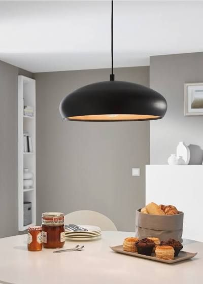 Eglo black and copper mogano 1 pendant light kitchen lighting from dusk lighting uk