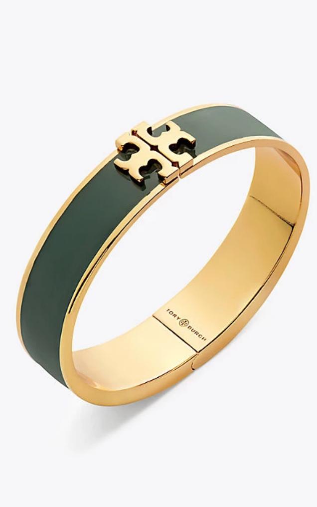 8751f8be09bf1 Kira Enameled Raised-Logo Hinged Bracelet in 2019   Green ...