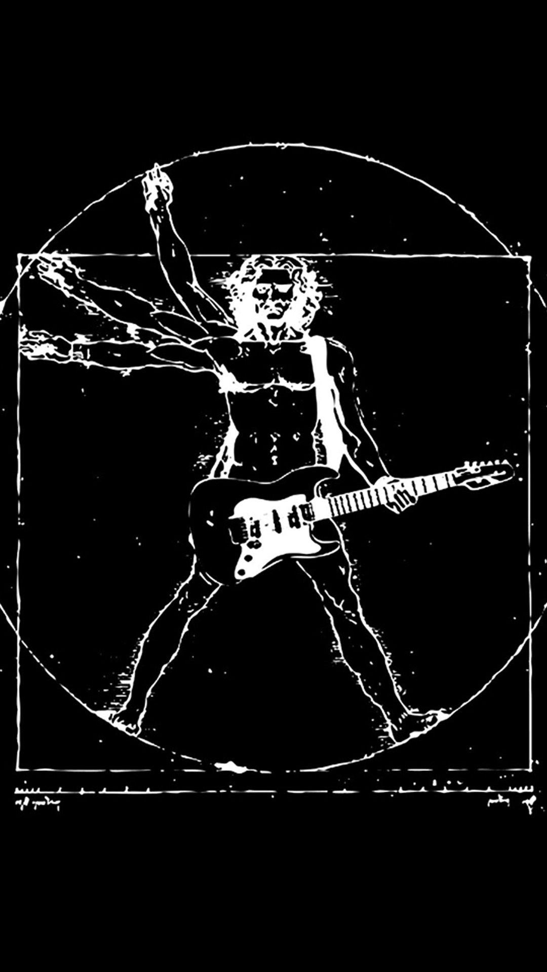 Funny Da Vinci Rock Hd Wallpaper Iphone 6 Plus Vitruvian Man Music Poster Art Parody