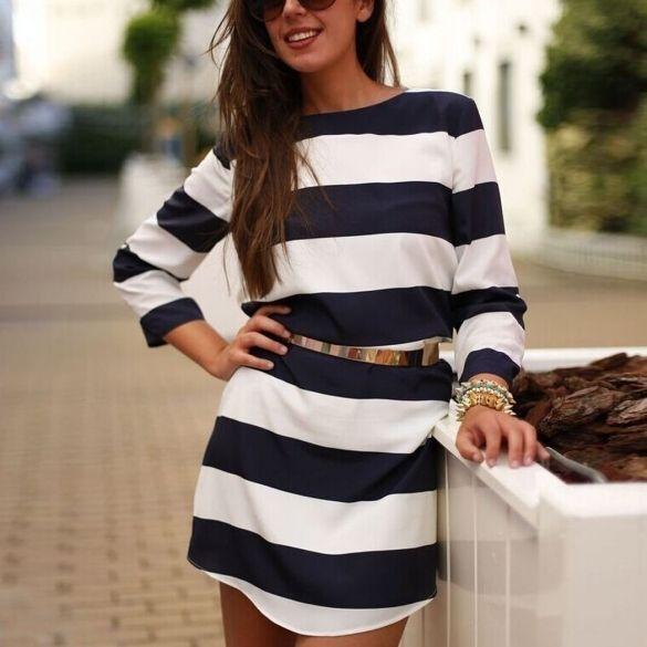 New Fashion Women Lady Long Sleeve O Neck Stripe Loose Straight Casual Mini Shift Dress