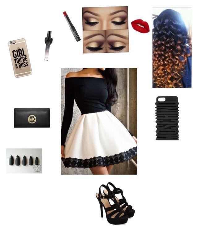 """"""""""" by vahj4life ❤ liked on Polyvore featuring Moschino, Lime Crime, NARS Cosmetics, Casetify, Victoria's Secret and MICHAEL Michael Kors"""