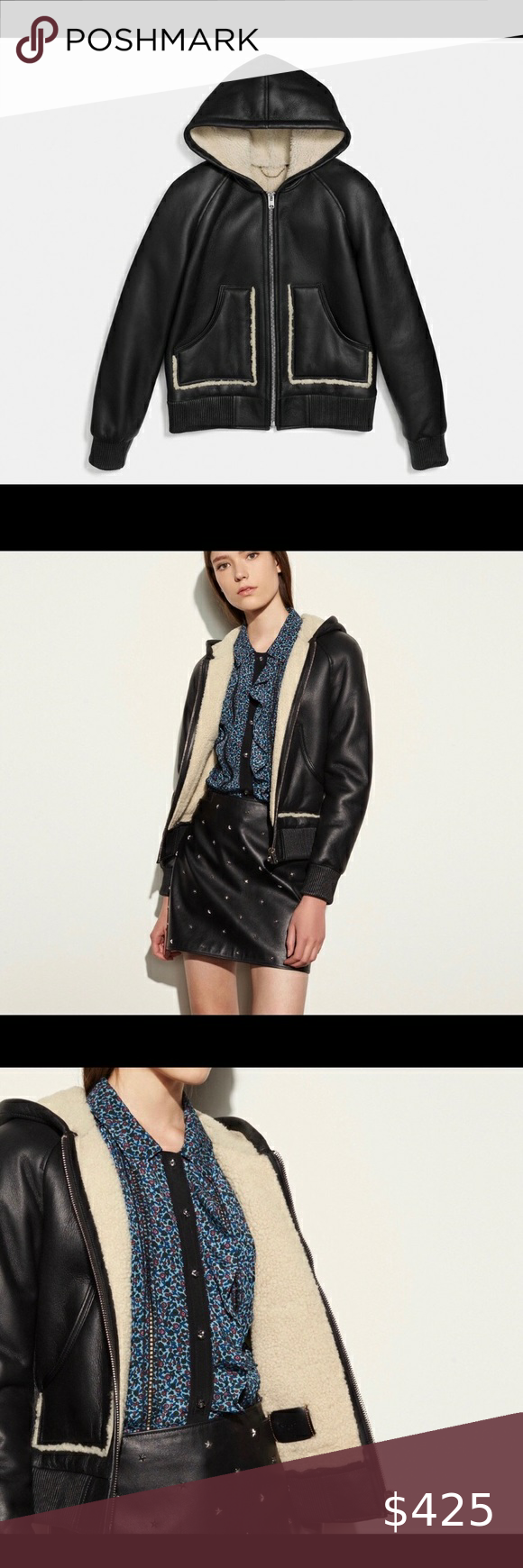 Coach Leather Hoodie Bomber Shearling Jacket Sz 2 Leather Hoodie Shearling Jacket Fashion [ 1740 x 580 Pixel ]