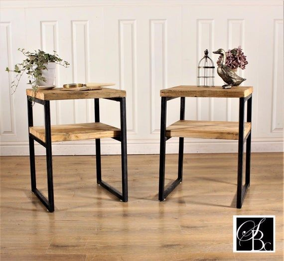 Rustic Bedside Tables Pair Industrial Chunky Nightstand   Etsy