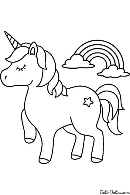 Раскраска Единорог и радуга распечатать или скачать ...
