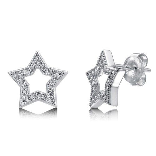 Micro Pave Cubic Zirconia Sterling Silver Open Star Stud Earrings from Berricle - Price: $46.99