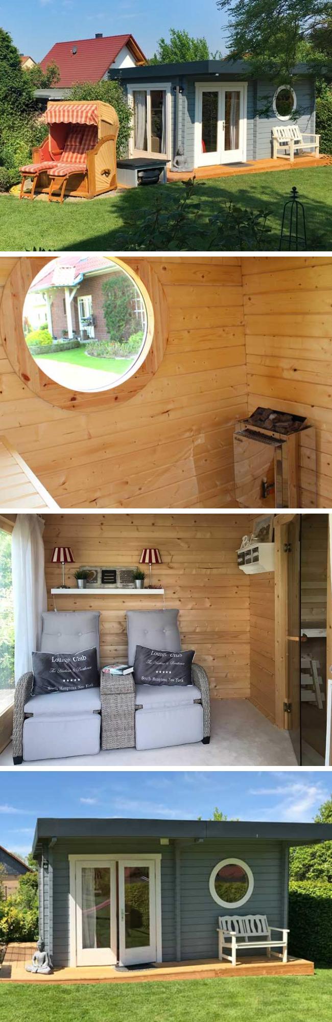 Saunahaus Mit Bullauge Schnell Aufgebaut Schick Eingerichtet Saunahaus Sauna Im Garten Sauna Selbst Bauen