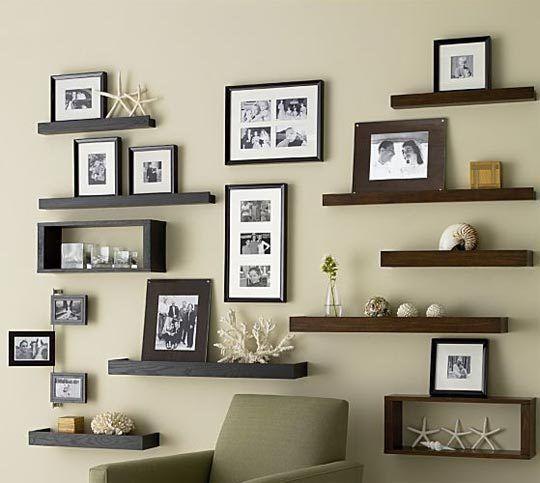 wall ideas using ledge frames   Family Wall Photo Display Ideas ...