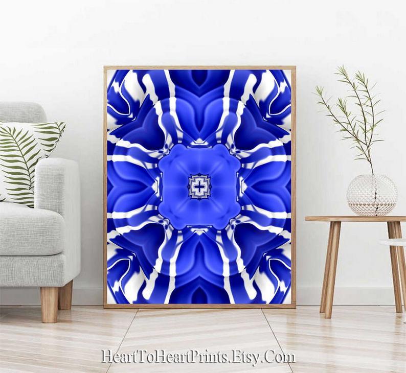 Royal Blue Wall Art Cobalt Blue Abstract Floral Wall Decor Etsy In 2020 Blue Wall Art Blue Flower Art Art Gallery Wall